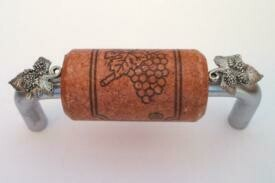 Vine Designs Brushed Chrome Cabinet Handle, cherry cork, silver leaf accents