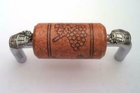 Vine Designs Brushed Chrome Cabinet Handle, cherry cork, silver barrel accents