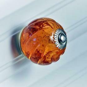Charleston Knob Company  AMBER CRYSTAL GLASS HANDCRAFTED CABINET KNOB