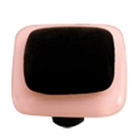 Hot Knobs Glass Cabinet Knob Black with Petal Pink Border