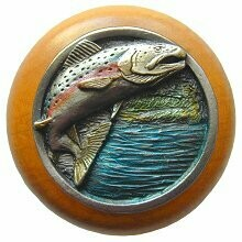 Notting Hill Cabinet Knob Leaping Trout/Maple Pewter Hand Tinted   1-1/2