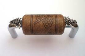 Vine Designs Chrome Cabinet Handle, espresso cork, silver grapes accents
