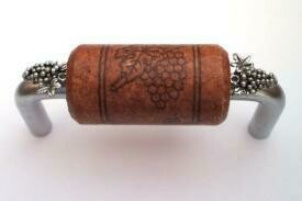 Vine Designs Brushed Chrome Cabinet Handle, mahogany cork, silver grapes accents