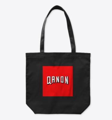 Q Anon organic black cotton tote