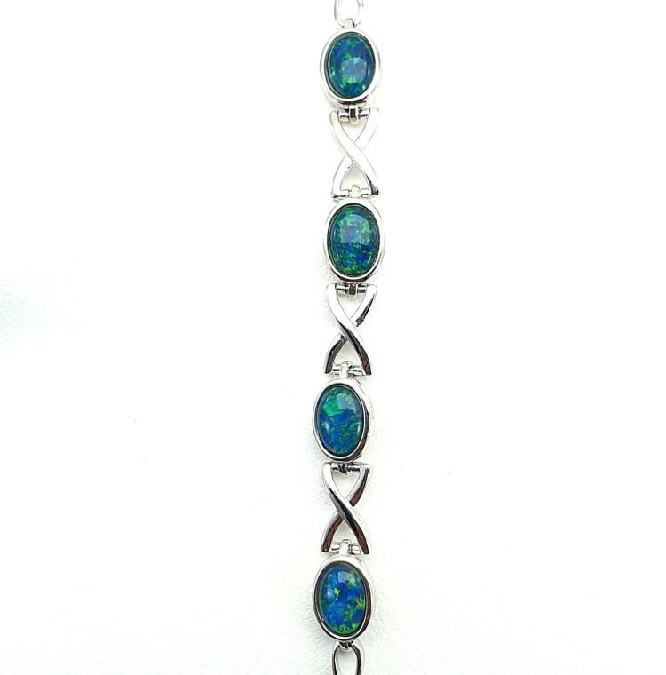 Black Opal Triplet - Rhodium Silver. X - Bracelet