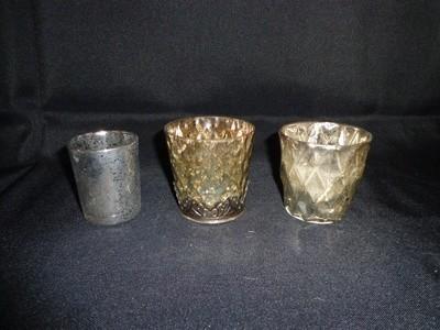 Votive Holder-Mercury Glass with Diamond Design