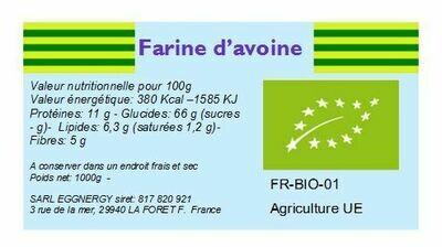 Farine d'avoine bio ultra-fine 25Kg (avoine instantané)