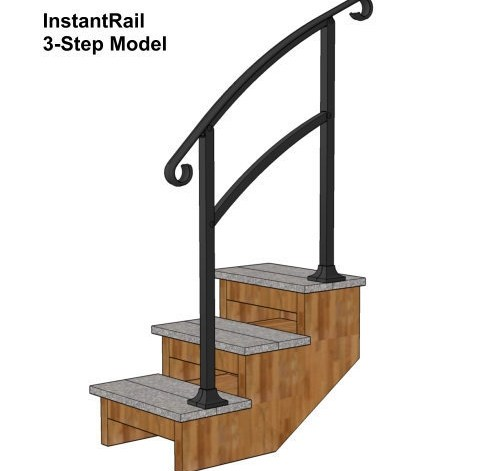 Instantrail – The Original Instantly Adjustable Handrail | Wooden Handrails For Steps | Iron | Different Kind Wood | Wood Patio | Rustic | Staircase Wooden