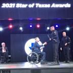 Senior Corporal James Farmer receiving his Star of Texas Award.