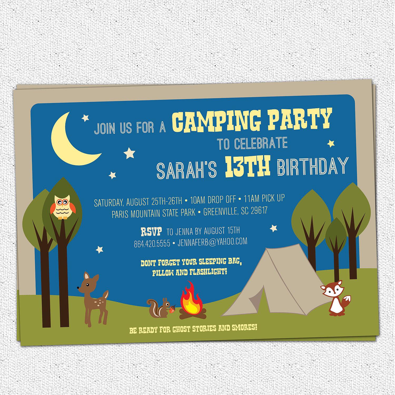 camping party invitations birthday