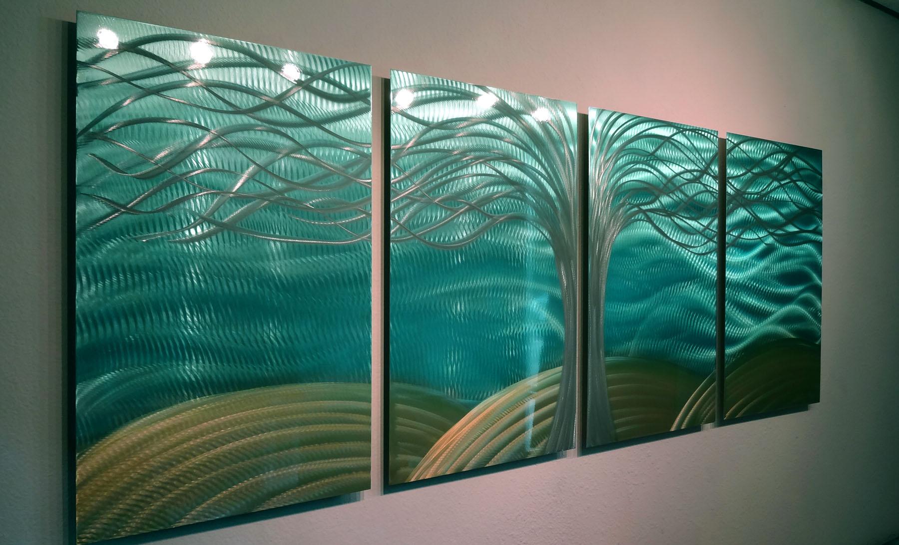 Tree Of Life Aqua Gold- Abstract Metal Wall Art