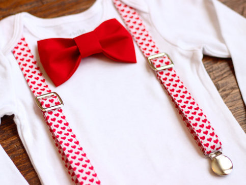 Valentines Day Bow Tie And Suspenders Valentines Day