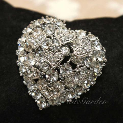 Crystal Rhinestone Heart Craft Jewelry Wedding Cake Silver