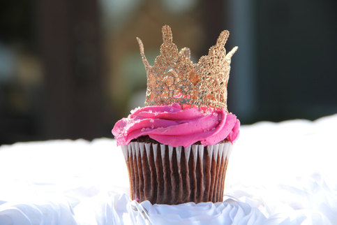 Mini Gold Lace Crown Cupcake Topper Baby Shower Gift