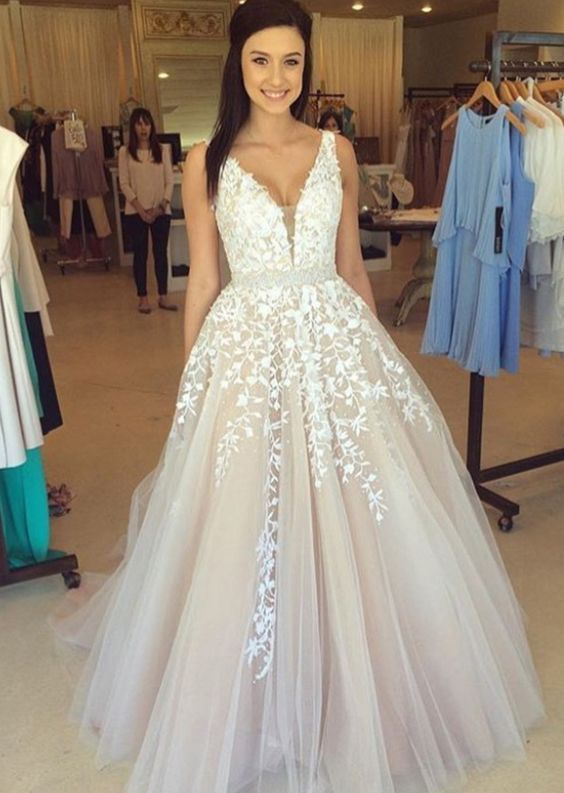 Lace Tulle Prom Dress A Line Prom Dress Lace Wedding