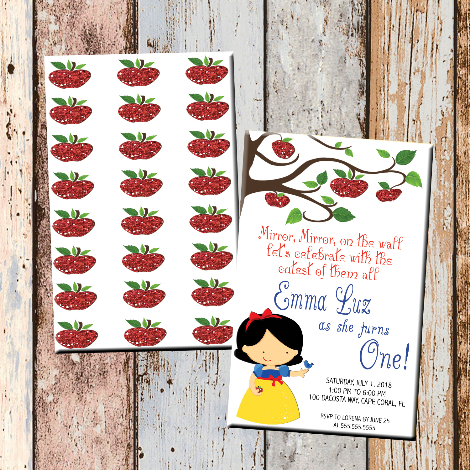 Snow White Apple Personalized Birthday Invitation 2 Sided Birthday Card Party Invitation Snow White Party Scg Designs