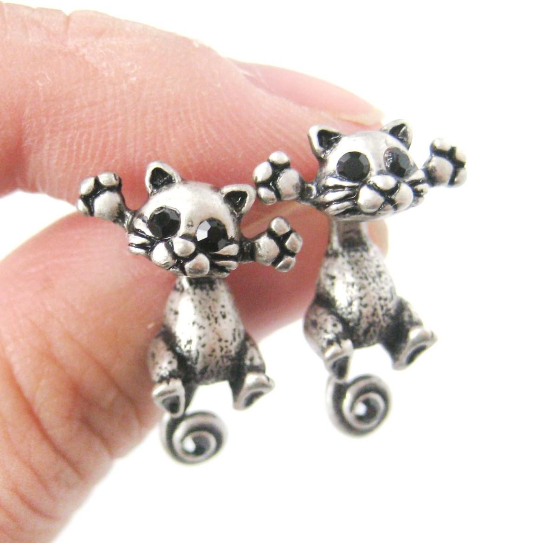 ... dangle earrings in silver usd $ 10 00 kitty cat two part stud earrings