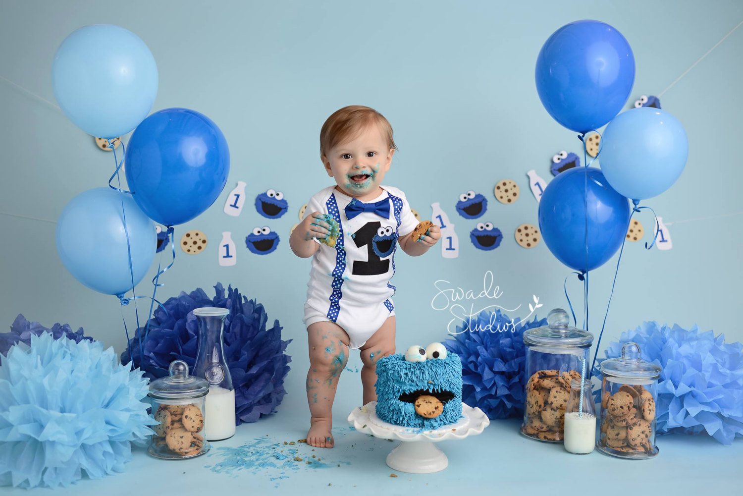Boys Cookie Monster Cake Smash Sesame Street Birthday Boys 1st Birthday Outfit Needles Knots N Bows Online Store Powered By Storenvy