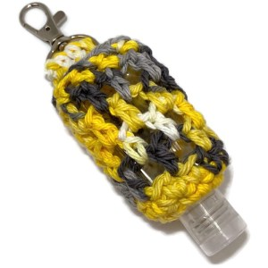 hand sanitizer clip yellow and gray