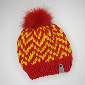 Red and Yellow Chevron Beanie
