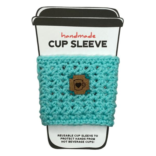 Aqua cup sleeve with coffee cup badge