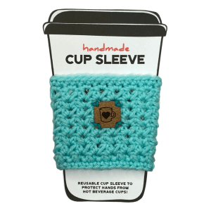 Aqua cup sleeve with coffee cup badge