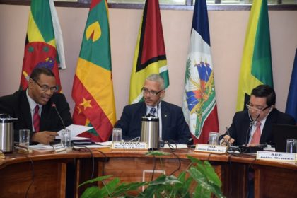 Joseph Cox, Caricom Assistant Secretary- General, Trade and Economic Integration, Guyana's Minister of Business, Dominic Gaskin, and Javier Gordon Ruiz, Director, Relations for Integration and Cooperation, Permanent Secretariat of SELA