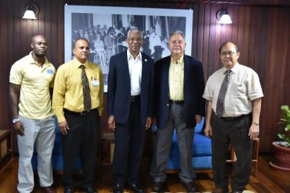 From left: Mr.Brinaire Jean, CEO ofFood For The Poor (Guyana) Incorporated, Mr. Kent Vincent, President David Granger,President and CEO of Food for the Poor's Florida Office, Mr. Robin Mahfood andChairman of theBoard ofFood For The Poor (Guyana) Incorporated,Mr. Paul Chan-a-Sue