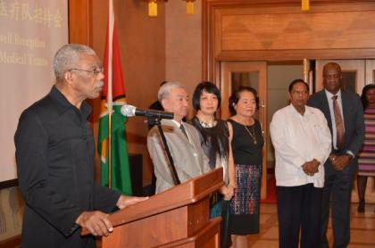 President David Granger delivering his remarks at the reception at the Chinese Embassy