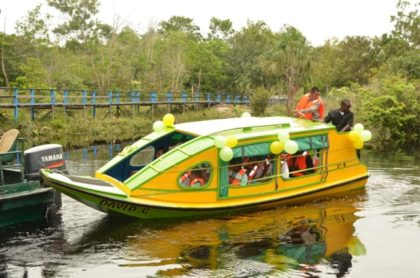 The boat, which was donated by Guyana Goldfields Incorporated/Aurora Gold Project and commissioned by President David Granger in Moraikobai.