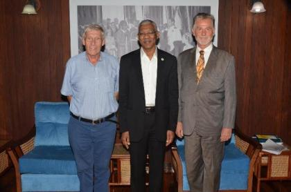 From left: Mr. Ben ter Welle, Honorary Consul of Germany to Guyana, President David Granger and His Excellency Lutz Hermann Gorgens, German Ambassador to Guyana.