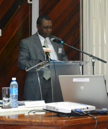 FAO Country Rep. Mr. Reuben Robertson delivering remarks at the ADRM Forum.JPG-june16
