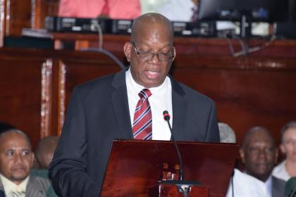 Finance Minister Winston Jordan delivering the 2016 National Budget