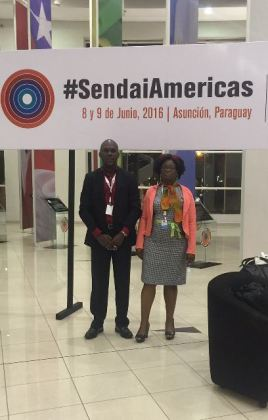 Deputy Director General of the Civil Defence Commission, Kester Craig and Senior Officer in Charge of Disaster Risk Reduction at the Ministry of Agriculture in Asuncion, Paraguay, Jean David, at the first meeting of ministers and high-level authorities on the implementation of the Sendai Framework for disaster risk reduction