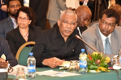 President David Granger makes a point during the Plenary session, which was held earlier today at the Pegasus Hotel