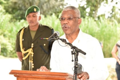 President David Granger delivering his address at the Access Dams/Roads Rehabilitation Project ceremony today