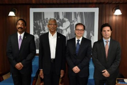 From left: Attorney General and Minister of Legal Affairs, Mr. Basil Williams, President David Granger, Secretary General of the Hague Conference on Private International Law, Dr. Christophe Bernasconi and Representative for Latin America, Mr. Ignacio Goicoechea.