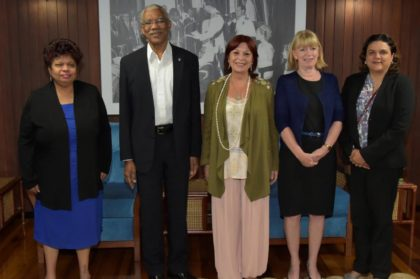 From left: Minister of Social Cohesion, Ms. Amna Ally, President David Granger, Ms. Marita Perceval, Regional Director for Latin America and the Caribbean for UNICEF, Ms. Marianne Flach, UNICEF's Representative in Guyana and Ms. Aida Oliver, Deputy Regional Director, UNICEF.