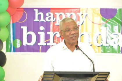"""""""I pray that we will continue to give this country, the leadership that our people needs and deserves. It is about the future that this 71st birthday is all about,"""" President David Granger tells those who had gathered at Congress Place to celebrate his 71st birth anniversary"""