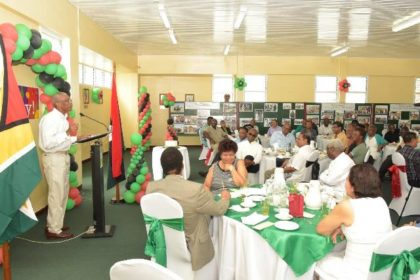 President David Granger addressing the Ministers of Government, other officials and members of the People's National Congress at the Special Breakfast, which was held in his honour at Congress Place, Sophia, this morning.
