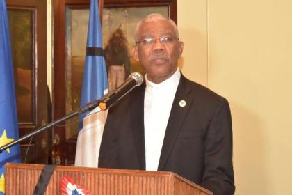 President David Granger delivering his remarks