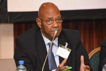 Former Home Affairs Minister of Guyana, Justice Stanley Moore making his contribution at the Hague Convention Conference on International Law, Legal Cooperation and Commerce