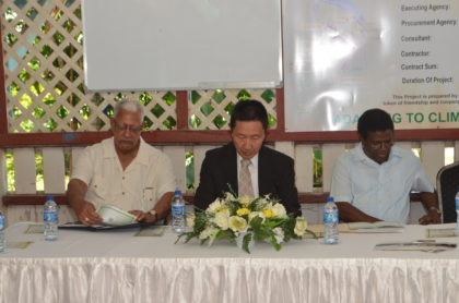 At head table; Minister of Agriculture Noel Holder, Japanese Ambassador to Guyana  H. E. Mitsuhiko Okada and Chief Executive Officer of  the National Drainage and Irrigation Authority, Frederick Flatts