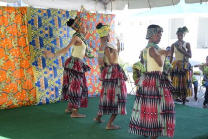 Members of the National School of Dance performing a cultural dance at the Emancipation Day Celebrations event
