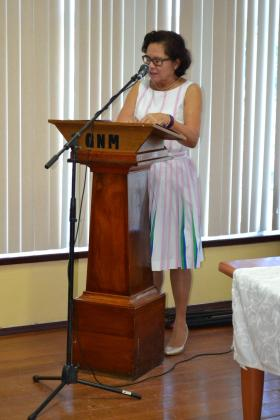 First Lady, Mrs. Sandra Granger making her address at the opening Ceremony of the Guyana Olympic Association's Women in Sport Seminar