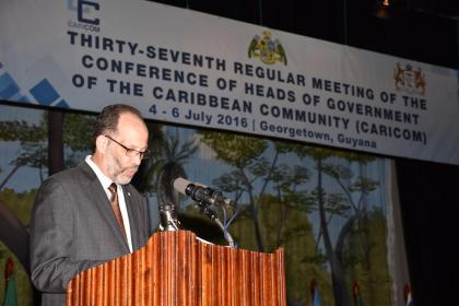 CARICOM Secretary General Irwin La Rocque making remarks at the official opening ceremony of the 37th Regular Meeting of the Conference of Heads of Government of the Caribbean Community (CARICOM)