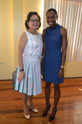 First Lady, Mrs. Sandra Granger and Guyana's most decorated athlete Ms. Aliann Pompey, at the National Sports Resource Centre