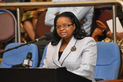 Minister of Social Protection, Hon. Volda Lawrence.