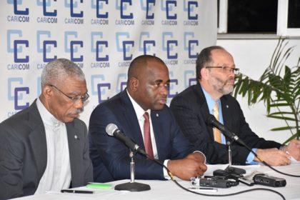 President David Granger co-host , Caricom Chairman and host Prime Minister of Dominica Roosevelt Skerrit and Secretary General, Caricom, Ambassador Irwin La Rocque at the closing press conference of the 37th Regular Meeting of the Conference of Heads of Government of Caricom