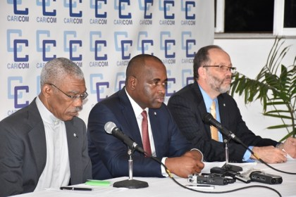 President David Granger co-host , Caricom Chairman and host Prime Minister of Dominica Roosevelt Skerrit and Secretary General, Caricom, Ambassador Irwin La Rocque at the closing press conference of the 37th Regular Meeting of the Conference of Heads of Government of Caricom